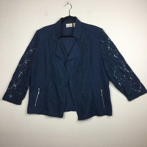 Chico's Open Front Lace Sleeves Jacket